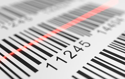 Barcode and scanner beam