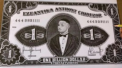 A drawing of a 'One Billion Dollar' note
