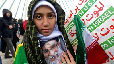 Iranian girl attends rally in Tehran to mark the 40th anniversary of the Islamic Revolution