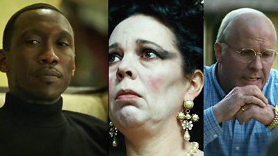 A composite image showing scenes from Green Book (L), The Favourite (C) and Vice (R)