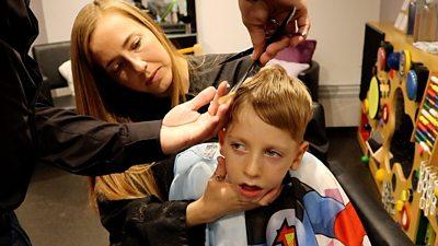 Oscar,5, having a hair cut.