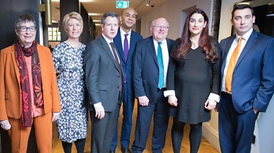 Seven Labour MPs who resigned stand together after their presser