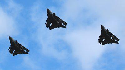 Three Tornados in flight