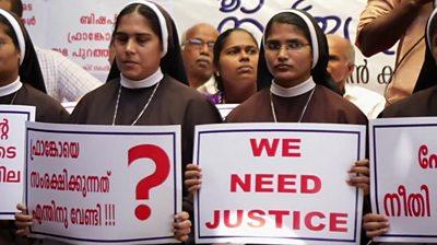 Nuns protesting