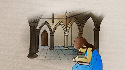 Animated drawing of a girl praying in church