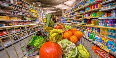 Groceries in supermarket trolley