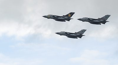 Crowds gather at RAF stations in Scotland to bid farewell to the Tornado fighter jet.