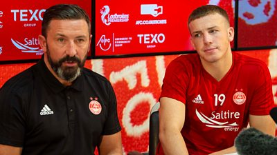 Aberdeen's Lewis Ferguson laughs off his dad revealing he was poised to sign a new deal live on BBC Radio Scotland.