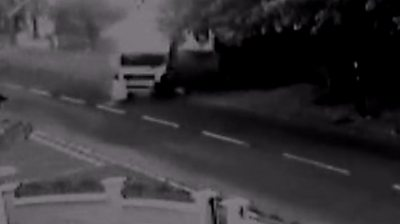 Lorry driving along road