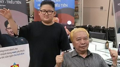 People with their hair cut like Donald Trump and Kim Jong-un in Hanoi, Vietnam