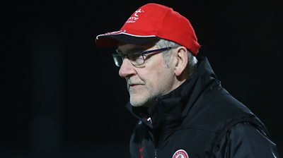 Mickey Harte watching during his Tyrone team's dominant 1-16 to 0-12 win over Monaghan