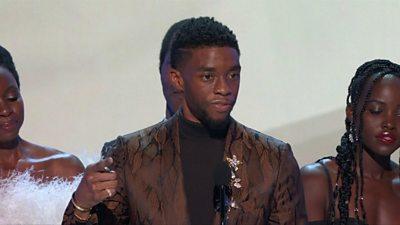 Actor Chadwich Boseman giving speech