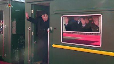 Kim Jong-un boards his train