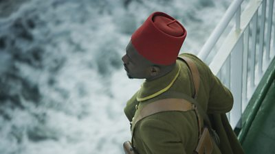 Still of a soldier from Mimesis: African Soldier by John Akomfrah