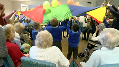 Children and elderly residents at care home