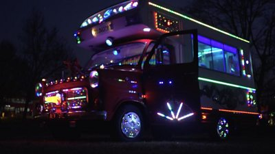 It's a camper-van like no other. Roger Reeve and his daughter Beverley decorated the motor-home with around 7,000 LED lights as a retirement project.