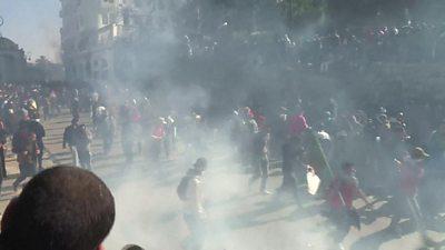 Tear gas in crowd