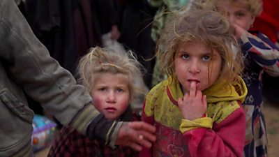 Two children among the people leaving IS's final stronghold in Syria