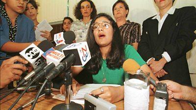 Abuse victim Zoilamerica Narvaez speaks at press conference