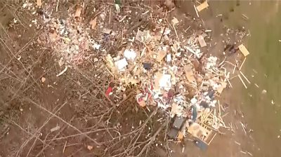Aerial of destruction in Opelika, Alabama
