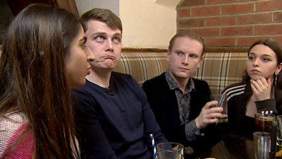 Facebook users in a pub
