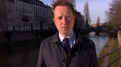 Reporter Adam Fleming by canal in Strasbourg