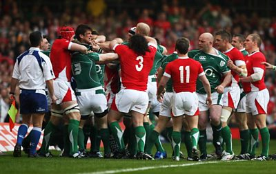 A brawl breaks out in the 6 Nations match between Wales and Ireland in Cardiff in 2009