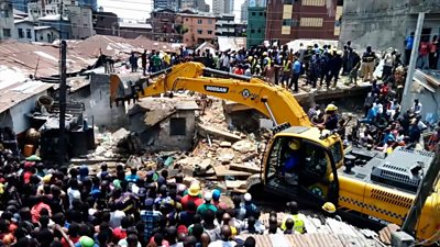 Scene of building collapse in Lagos