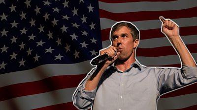 Beto O'Rourke over US flag
