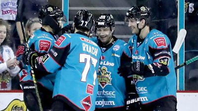 Belfast Giants players celebrate a goal against Coventry Blaze