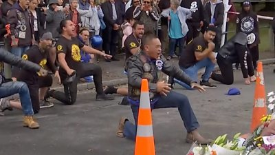Bikers perform Haka
