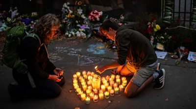 Candles at a vigil in Christchurch