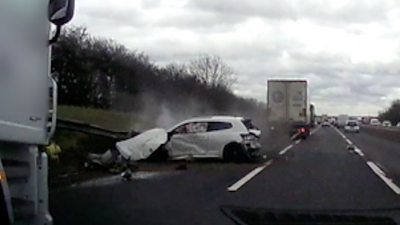 Car after M1 accident with lorry