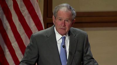 Former US President George W Bush pays tribute to the positive impact of immigrants on the country.