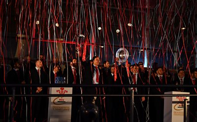 The players during the celebration