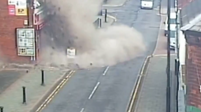This large gas explosion was caught on CCTV on the Cannock Road at 10:51GMT Sunday.