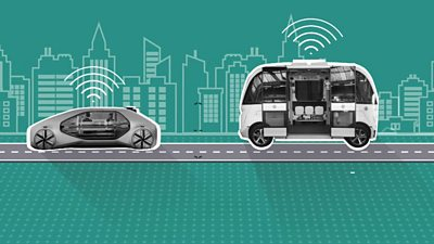 Graphic of driverless interactive cars