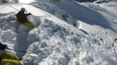 A skier caught in an avalanche in St Anton am Arlberg, Austria.