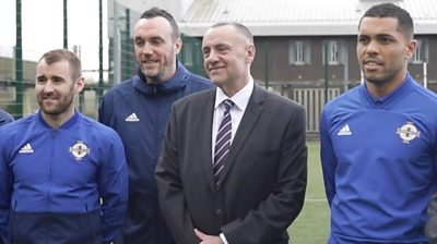 Northern Ireland players Niall McGinn (left) and Josh Magennis (right) visited Maghaberry Prison recently