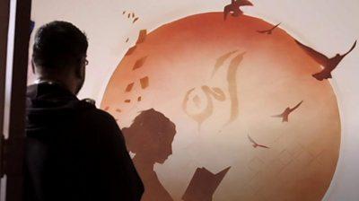 "Graffiti artist Mohammed ""Aerosol"" Ali visits Lebanon to help refugee children with his art."