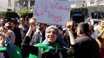 Young people protesting on Algeria's streets