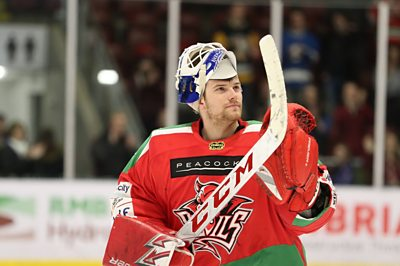 Cardiff Devils' netminder Ben Bowns after their win over Manchester Storm on 23rd March 2019