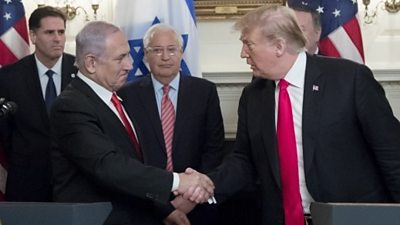 """The Israel prime minister called the US policy shift a """"diplomatic victory""""."""