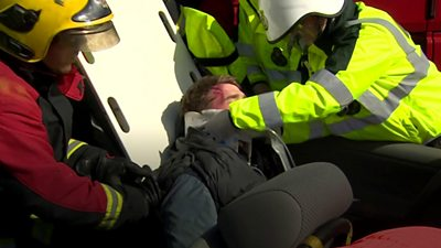 Scene of staged car crash