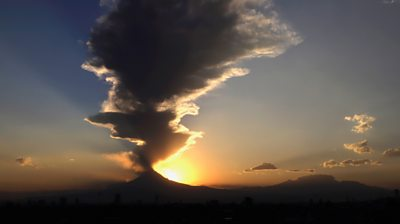 Popocatepetl volcano with plume