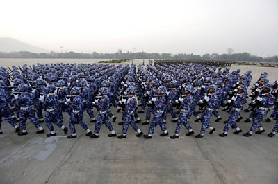 Soldiers parading in Myanmar