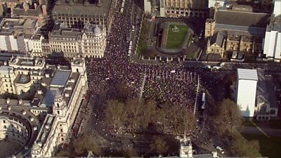 Aerial shot of Brexit rally