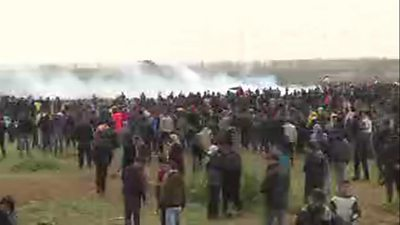 Palestinians gather for the anniversary protest