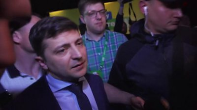 A comedian has won the most votes in the first round of Ukraine's presidential elections, according to exit polls.