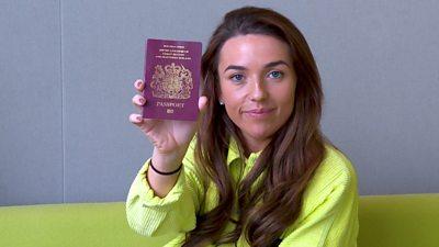 Ellis with her passport